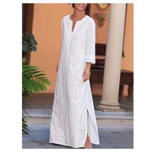 Soft Surroundings White Cotton Tunic Maxi Dress M